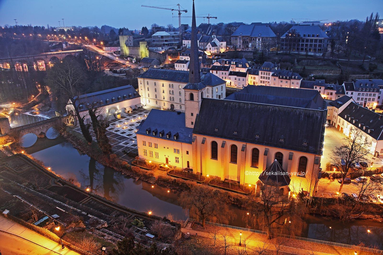 ルクセンブルク「ルクセンブルク市:その古い街並みと要塞群」夜景