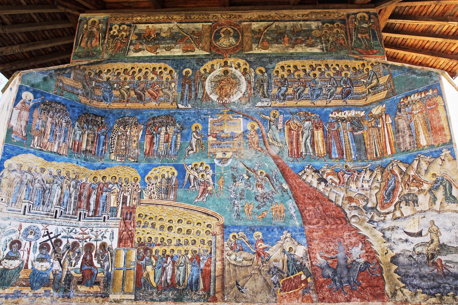 ルーマニア「モルドヴィア地方の教会群」- ヴォロネツ修道院(最後の審判)